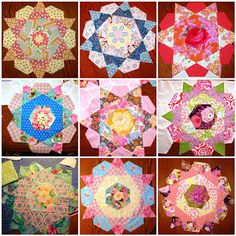 Finish It Up Friday~More Rose Star Blocks Finished