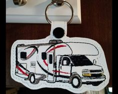 Class C RV Key Fob This design sews in the hoop. Available Formats Include… Machine Embroidery Patterns, Embroidery Applique, Class C Rv, Rv For Sale, Emergency Vehicles, Key Fobs, Big Trucks, As You Like, Trip Planning
