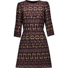 Dolce & Gabbana Printed brocade mini dress ($1,280) ❤ liked on Polyvore featuring dresses, vestidos, purple mini dress, short loose dresses, fitted dresses, loose fitting dresses and short bell sleeve dress