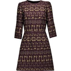 Dolce & Gabbana - Printed Brocade Mini Dress ($1,280) ❤ liked on Polyvore featuring dresses, merlot, short purple dresses, pattern dress, bell sleeve dress, print mini dress and glamorous dresses
