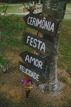 decoração de casamento placas rusticas