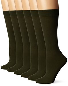 Differenttouch 6 Pairs Pack Women Opaque Stretchy Spandex Knee High Trouser Socks * Details can be found by clicking on the image.