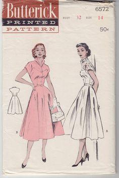 Vintage Sewing Pattern 1950's Misses Dress Butterick 6572.