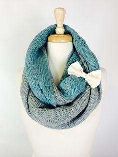 Infinity Scarf / Bow Scarf / Mint Grey Infinity Scarf / Knit Infinity Scarf / Loop Scarf / Circle Scarf / Grey Knit Scarf by ForeverChicCouture on Etsy https://www.etsy.com/listing/211345810/infinity-scarf-bow-scarf-mint-grey