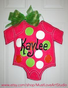 Baby Shower Nursery Burlap Door Hanger by MustLoveArtStudio, $35.00