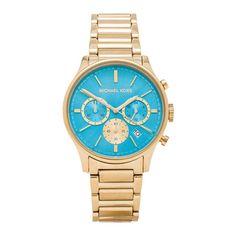 Reloj mujer de la marca Michael Kors MK5910, recubierto de acero inoxidable dorado. Esfera redonda color azul, con cronógrafo y fecha. Logotipo grabado de Michael Kors. Cristal mineral resistente a arañazos. Correa recubierta de acero inoxidable en dorado. Resistente al agua.