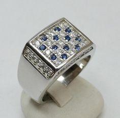Ring Silber 925 Silberring mit klaren und blauen von Schmuckbaron