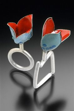 """Enamel Rings   from """"Color Series: Dissemblance""""  by Sarah Hood. (Silver, enamel, glass.)"""