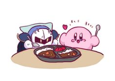 Kirby and Meta Knight are eating curry rice =)