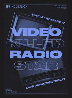 Video Killed Radio Star Poster by Text Poster, Poster Art, Typography Poster, Gfx Design, Layout Design, Print Design, Graphic Design Posters, Graphic Design Typography, Event Poster Design