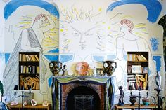 """Jean Cocteau's villa ~ In the Spring of 1950, having just wrapped the film adaptation of his novel Les Enfants Terribles, Jean Cocteau went to spend a week in a handsome, turreted villa in Saint-Jean-Cap- Ferrat on the French Riviera. Known then as the Villa Santo Sospir, by the time Cocteau left 11 years later it had become infamous as """"The Tattooed Villa"""" thanks to the dandy painter's deft hand with charcoal and brush."""