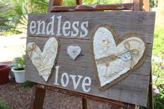 Handcrafted Endless Love Wooden Sign Wedding Anniversary Decor Lace Buttons