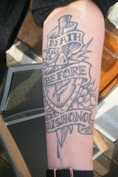 Death before dishonor: Tattoo by Henk Schiffmacher a.k.a. Hanky Panky himself. He is one of our resident artists, for more info and pictures: http://www.amsterdamtattoomuseum.com/museum/facts/tattoo-artists-in-residence/