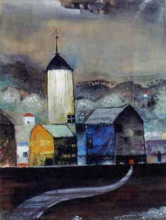小山田二郎(1914ー1991)「夜の塔」(c.1954)