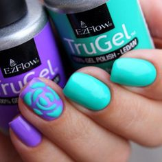 Impress your clients with unexpected color combinations like @alisa_veruv4udo. She used TruGel Polish in Tea Time and Teal The Beat. #EzFlow #EzFlowNailSystems #TruGel