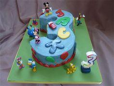 Number 3 Cake  : Based on Mickey Mouse Clubhouse with non-edible Clubhouse characters