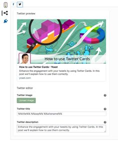 How to use Twitter Cards    Back in 2012, Twitter introduced a system called Twitter Cards which allows site owners to display enhanced tweets on their websites using a syntax very similar to that of OpenGraph. Thanks to this ne   https://yoast.com/twitter-cards/