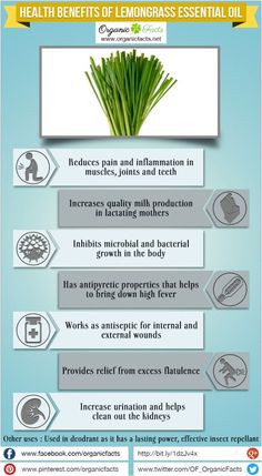 Organic Facts | Health benefits of Lemongrass Essential Oil can be attributed to its many beneficial properties as an analgesic, antidepressant, antimicrobial, antipyretic, antiseptic, astringent, bactericidal, carminative, deodorant, diuretic, febrifuge, fungicidal, galactogogue, insecticidal, nervine, sedative and tonic substance.