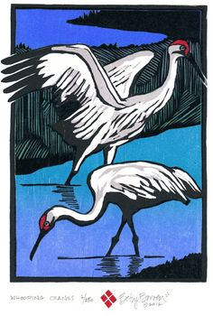 woodblock prints | Store | NEW Work | Whooping Crane