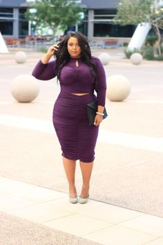 Plus Size Fashion from Fashion To Figure. Fashion blogger Nicole from Curves on a Budget shows of her figure in this showstopping OOTD. Click here to shop the Raychel Ruched Midi Skirt $28.90 and the Raychel Ruched Crop Top $26.90 - http://goo.gl/Q85mM7