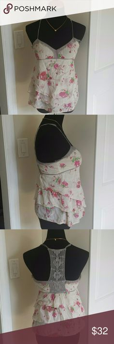 Free People Layered Chiffon Crochet Rose Babydoll Super cute floral design layered lightweight babydoll top. Hidden side zip with hook and eye closure. Feel free to make an offer! Free People Tops