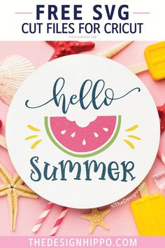 Free Hello Summer SVG cut files for Cricut and Silhouette DIY craft projects. Perfect for summer crafts! Featuring a cute watermelon, use this design to make a sign, t-shirt, tank top, mug, tote bag, tumbler and more. #freesvg #freesummersvg #watermelonsvg #hellosummersvg #cricut #crafts #silhouette Free Svg Cut Files, Svg Files For Cricut, Free Cut Files For Silhouette, Free Font Design, Cricut Craft Room, Summer Design, How To Make Tshirts, Free Download, Hello Summer