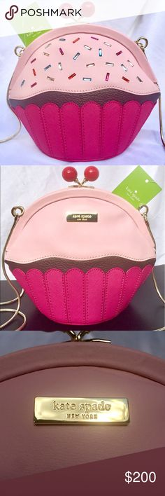 """KATE SPADE Cake Cupcake Crossbody Bag Purse CONDITION: NWT = NEW With Tags  DESCRIPTION: AUTHENTIC  Cupcake crossbody bag from Take the Cake collection. Cute cherry kiss lock at top.  ‼️SOLD OUT‼️ on Kate Spade website  MEASUREMENTS:      * 8.5"""" WIDTH    * 7"""" HEIGHT    * 4"""" DEPTH    * 24"""" STRAP DROP (Detachable Gold Chain)  TAGS: cup cake birthday sprinkles novelty cross body limited edition kaye purse pink michael micheal kors coach  PHOTO CREDITS: www.KateSpade.com  PHOTO #4 for size only…"""