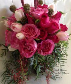 Pink  garden rose bridal bouquet.