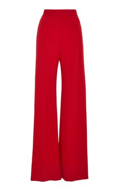 Brandon Maxwell Pebble Crepe Wide-leg Pants In Red Trouser Pants, Cropped Pants, Wide Leg Pants, Diva Fashion, Fashion Outfits, Fashion Pants, Indian Reception Outfit, Preppy Casual, Cute Pants
