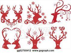 trophy buck Silhouette    Stock Illustration - Christmas deer stag heads, vector design element ...
