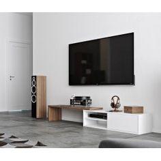 Banc TV design Move blanc/noyer ATYLIA