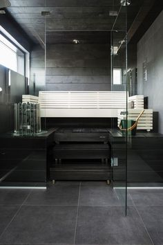 Be sure to choose the frame of mind you desire your living space to mirror. Bathroom Spa, Bathroom Interior, Steam Room Shower, Sauna Shower, Sauna Design, Outdoor Sauna, Spa Rooms, Relaxation Room, Saunas