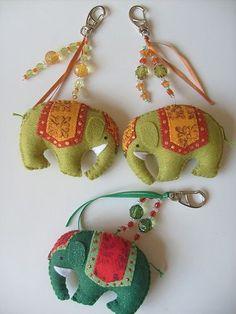 chaveiro de feltro elefantes indianos
