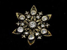 Rhinestone Star Brooch Golden Hued Vintage Sparkler by hipcricket, $20.00