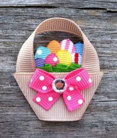 Easter Basket hair clip Ribbon Hair Clips, Hair Ribbons, Ribbon Art, Diy Hair Bows, Ribbon Crafts, Ribbon Bows, Band Kunst, Toddler Hair Clips, Barrettes