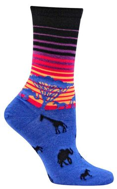 Giraffes, zebras, and elephants -- oh my! Crew length socks with African animals silhouetted against a colorful striped setting sun - available in black or turquoise. Fits a women's shoe size 5-10.