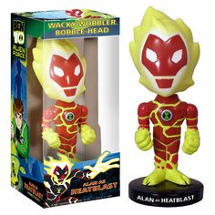 This Ben 10 'Heatblast' Wacky Wobbler Bobble Head stands nearly seven inches tall. This bobble head is based off the 'Heatblast' character on the popular series 'Ben 10'. Made by Funko Model: 8372 Mat