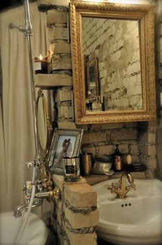 Rustic, yet modern bathroom.