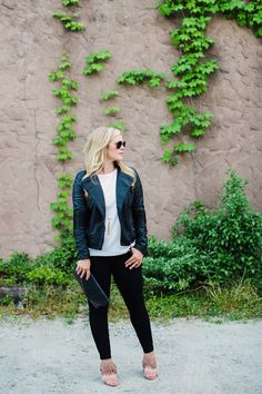 Blank NYC leather jacket, sole society clutch, dinner outfit inspiration