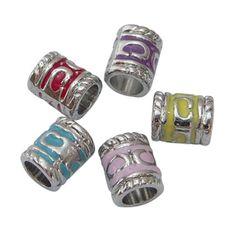 Perle Européenne tube métal et émail rouge pour Bracelet Charms 8.5X7mm : Perles en Métal par les-creas-de-carine