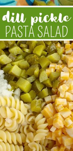 Dill Pickle Pasta Salad will be an instant favorite! Tender spiral pasta 2 cups of diced pickles cheese and onion covered in a ultra creamy homemade dill dressing with pickle juice. Kitchen Recipes, Cooking Recipes, Tofu Recipes, Pickle Soup, Spiral Pasta, Pasta Salad Recipes, Dill Salad Recipe, Homemade Pasta Salad, Yummy Pasta Recipes