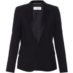 Saint Laurent Satin-lapel wool-twill blazer (91 410 UAH) ❤ liked on Polyvore featuring outerwear, jackets, blazers, black, black blazer, black wool blazer, black satin blazer, peak lapel tuxedo and blazer jacket