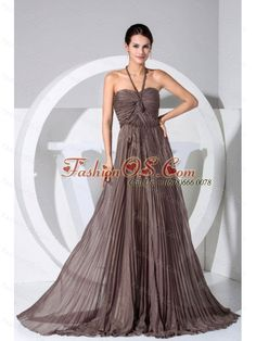 Halter Pleat Decorate Bodice Brown Chiffon Brush Train Prom Dress- $158.47  www.fashionos.com  This fashion brown halter-top neckline dress features a sweetheart neck and dropped waist line and heavily pleated bodice. The full length skirt falls from the body-hugging waist in tiers with a bustle effect. This special gown is sure to impress at your next prom or special occasion party. It moves and sways beautifully when you walk, creating a lovely silhouette.