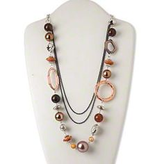 Necklace, silver-finished steel / acrylic / silver- and copper-coated plastic / plastic / acrylic pearl, multicolored, 51x30mm flat oval, 32-inch continuous loop. Sold individually.