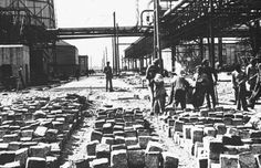 Jewish slave labor at the Auschwitz/Monowitz Buna plant. It was close to the site of the I.G. Farben works.