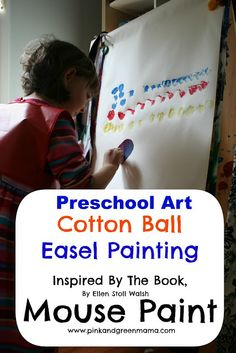 Preschool-Art-Lesson-Cotton-Ball-Painting-Easel-Mouse-Paint-Book-Inspired-Lesson-Primary-Colors-Art-Lesson