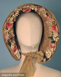 TAN SILK DRAWN BONNET, 1840s April 2006 Vintage Clothing & Textile Auction New Hope, PA All original, trimmed w/ lace and cloth flowers inside brim
