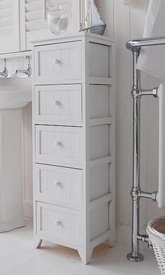 Awesome Free Standing Slim Bathroom Cabinet With 5 Drawers   White Cottage Living  Furniture