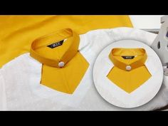 New kurti collar neck design with wide neck and button easy DIY tutorial for beginners Chudi Neck Designs, Blouse Back Neck Designs, Collar Designs, Blouse Designs, Churidar Neck Designs, Kurta Neck Design, New Kurti, Myanmar Dress Design, Stitching Dresses
