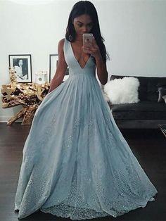 Deep V-neck Glitter Prom Dresses, Floor Length Occasion Dresses ASD2504